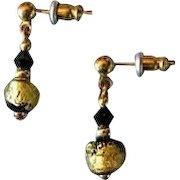 STUNNING Venetian Art Glass Earrings, Black & 24K Gold Foil Murano Glass Beads