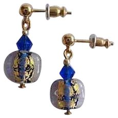 GORGEOUS Venetian Art Glass Earrings, Cobalt Blue 24K Gold Foil Murano Glass Beads