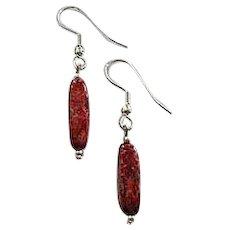 MOD Czech Art Glass Earrings, SCARCE 1960's Czech Glass Beads