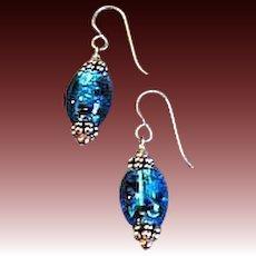 DAZZLING Turquoise Czech Art Glass Earrings, Rare 1970's Czech Silver Foil Glass Beads