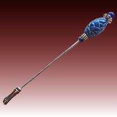 STRIKING Czech Art Glass Stick Pin, RARE 1960's Czech Glass Bead, Hat Pin