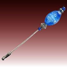STUNNING Blue Czech Glass Stick Pin, RARE 1960's Czech Glass Bead, Hat Pin