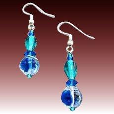 GORGEOUS Blue German Art Glass Earrings, RARE 1940's German Glass Beads