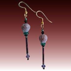 MOD Purple Czech Art Glass Earrings, RARE 1960's Czech Pressed Glass Beads