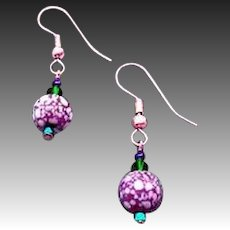 MOD Czech Art Glass Earrings, SCARCE 1960's Czech Glass Beads, Purple & White