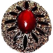 STUNNING Vintage Red and Jet Black Glass Brooch, Large Goldtone Oval Filigree Setting