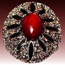 STUNNING Vintage Red and Jet Black Glass Brooch, Large Goldtone Oval Filigree Setting