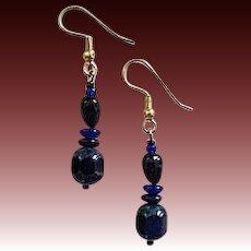 STUNNING Blue Czech Art Glass Earrings, RARE 1940's Czech Glass Beads