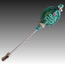 GORGEOUS Teal Czech Art Glass Stick Pin, RARE 1970's Czech Aventurine Glass Bead, Flower Decoration, Hat Pin