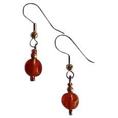 MOD Amber Czech Art Glass Earrings, RARE 1960's Czech Frosted Glass Beads, Polka Dot Beads
