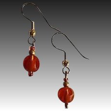 MOD Amber Czech Art Glass Earrings, RARE 1960's Czech Frosted Glass Beads, Polka Dot Beads
