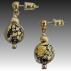 DAZZLING Venetian Art Glass Earrings, Black & 24K Gold Foil Murano Glass Beads