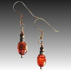 MOD Czech Art Glass Earrings, SCARCE 1960's Czech Glass Beads, Pink, Amber Stripes