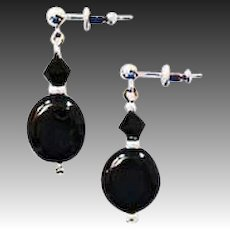 FABULOUS Black Czech Art Glass Earrings, SCARCE 1960's Czech Glass Beads