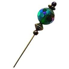 GORGEOUS Czech Art Glass Stick Pin, RARE 1950's Czech AB Glass Bead, Hat Pin