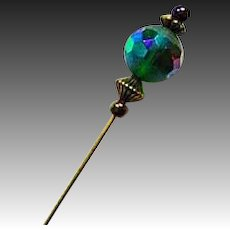 GORGEOUS Czech Art Glass Stick Pin, RARE 1950's Czech AB Glass Bead, Hat Pin