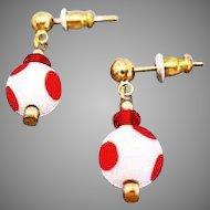 MOD Czech Art Glass Earrings, RARE 1960's Czech Polka Dot Glass Beads, Red & White