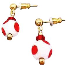 MOD Czech Art Glass Earrings, RARE 1960's Czech Polka Dot Glass Beads, Red & White