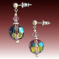 DAZZLING Amethyst Austrian Crystal Glass Earrings, RARE 1950's Austrian Crystal Beads
