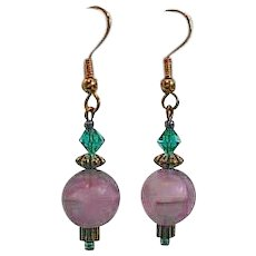 FABULOUS Purple German Art Glass Earrings, RARE 1960's German Frosted Glass Beads