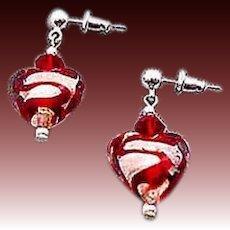 GORGEOUS Venetian Art Glass Earrings, Silver Foil Hearts, Red Swirl Murano Glass Heart Beads