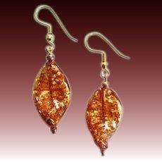 DAZZLING Aventurine Venetian Art Glass Earrings, Aventurina Murano Glass Beads