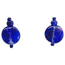 GORGEOUS Blue Czech Art Glass Earrings, RARE 1960's Czech Metallic Glass Beads