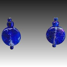 GORGEOUS Blue Czech Art Glass Earrings, RARE 1960's Czech Metallic Glass Beads
