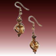 GORGEOUS Aventurine Venetian Art Glass Earrings, Bronze Aventurina Murano Glass Beads