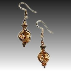 GORGEOUS Aventurine Venetian Art Glass Earrings, Bronze Aventurina Murano Glass Beads