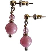 STUNNING Art Deco Venetian Art Glass Earrings, RARE 1930's Venetian Pink Satin Glass Beads