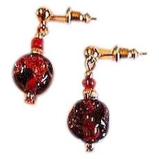 GORGEOUS Red Venetian Art Glass Earrings, RARE 1920's Venetian 24K Gold Foil Beads