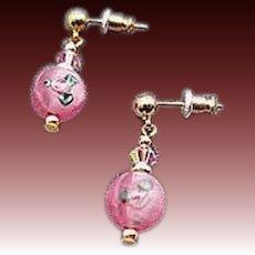 STUNNING Pink Czech Art Glass Earrings, Vintage Czech Flower Lampwork Beads