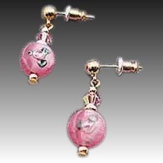 STUNNING Pink Czech Art Glass Earrings, Vintage Czech Flower Lampwork Beads
