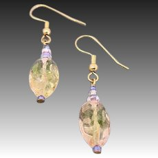 GORGEOUS German Art Glass Earrings, RARE 1940's Pink & Champagne German Glass Beads