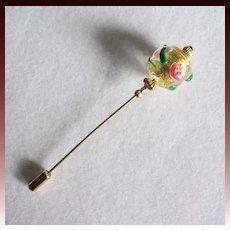 EXQUISITE Fiorato Venetian Art Glass Stick Pin, 24K Gold Foil Murano Glass Bead, Pink Rose Fiorato Bead, Hat Pin