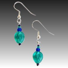Gorgeous Teal Venetian Glass Earrings, RARE 1930's Venetian Art Deco Beads