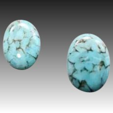 STUNNING Turquoise German Art Glass Earrings, RARE 1940's German Cabochon Glass Beads, Pierced Earrings