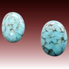 STUNNING Turquoise German Art Glass Earrings, RARE 1940's German Cabochon Glass Beads, Pierced Earrings