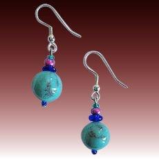 Gorgeous Turquoise Czech Art Glass Earrings, RARE 1960's Czech Beads