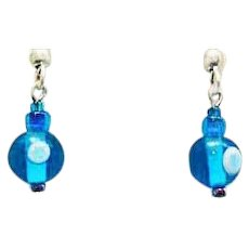 MOD Turquoise Czech Art Glass Earrings, RARE 1960's Vintage Czech Glass Beads