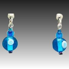 MOD Turquoise Czech Art Glass Earrings, RARE 1960's Vintage Czech Glass Beads