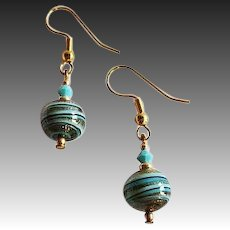 STUNNING Aventurina Venetian Art Glass Earrings, Turquoise & Black Murano Glass Beads