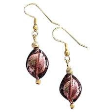 STUNNING Twisted Venetian Art Glass Earrings, Mauve Purple 24K Gold Foil Murano Glass Beads
