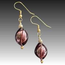 STUNNING Twisted Venetian Art Glass Earrings, Mauve Purple 24K Gold Foil Murano Glass Beads