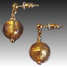 GORGEOUS Pink Venetian Art Glass Earrings, 24K Gold Foil Murano Glass Beads
