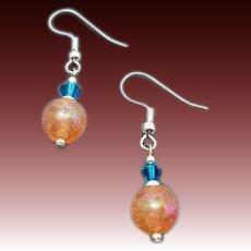 FABULOUS German Art Glass Earrings, RARE 1960's German Crackle Glass Beads, Pink & Coral