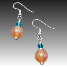 FABULOUS German Art Glass Earrings, RARE 1960's German Crackle Glass Beads, Pink & Coral
