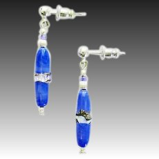 STUNNING Blue Venetian Art Glass Earrings, RARE Antique Silver Foil Venetian Glass Beads