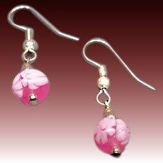 STUNNING Venetian Millefiori Art Glass Earrings, Pink & White Murano Glass Beads